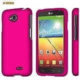 LG Optimus L70 (Metro PCS) Slim Light Hybrid Snap On Non-Slip Matte Hard Case Protex Rubberized Rubber Coating Protective Case - Rose Pink - Retail Packaging