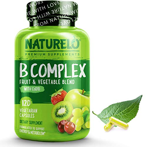 NATURELO B Complex – Whole Food – with Vitamin B6, Folate, B12, Biotin – Vegan – Vegetarian – Best Natural Supplement for Energy and Stress – High Potency – Non GMO – Gluten Free – 120 Capsules