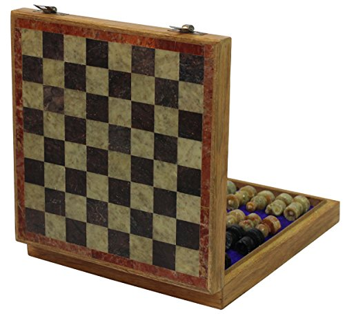 Square Travel Chess Set - SouvNear 8x8 Inch Square Antique-Look Chess Board & Chessmen Set with Storage Box for Chessmen - Handmade Marble & Wood Chess Set - Travel Games from India
