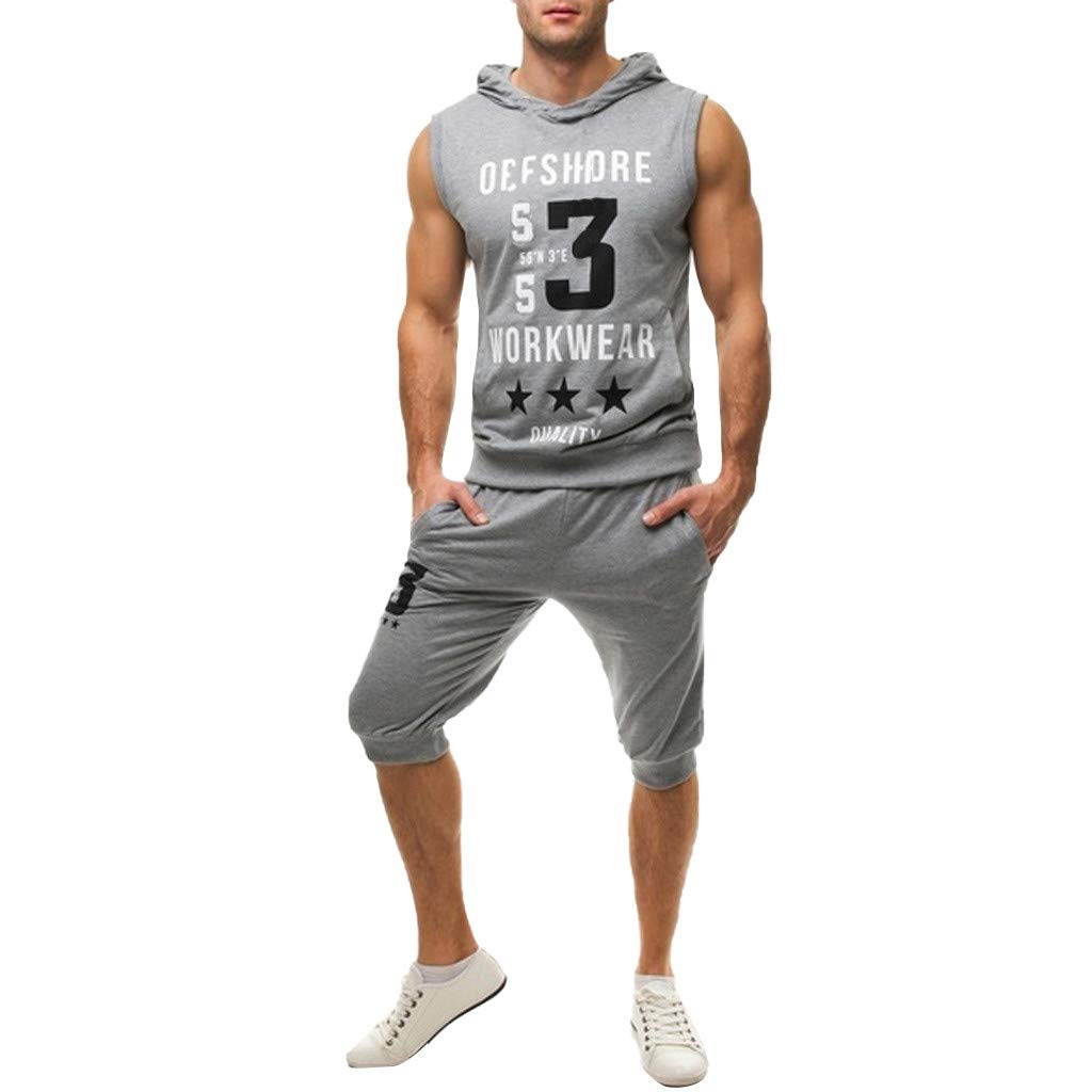 Mens Summer Outfit,Tronet Men's Summer Leisure Fashion Printing Sleeveless Hoodie Vest Shorts Sports Sets Gray by Tronet Men's tops