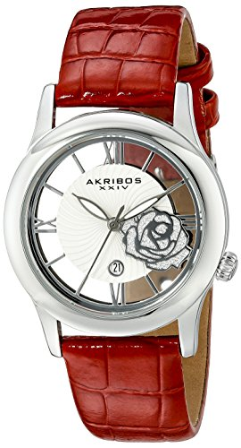Akribos XXIV Women's AK837RD Quartz Movement Watch with Silver and See Thru Flower Dial Featuring a Red Leather Strap
