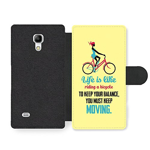 a Bicycle Albert Einstein Life & Love Inspirational Quote Faux Leather case for Samsung Galaxy S4 mini ()