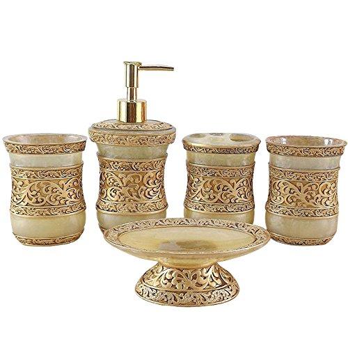 Resin Bath Accessories - Resin 5PC Bathroom Accessories Set Soap Dispenser/Toothbrush Holder/Tumbler/Soap Dish