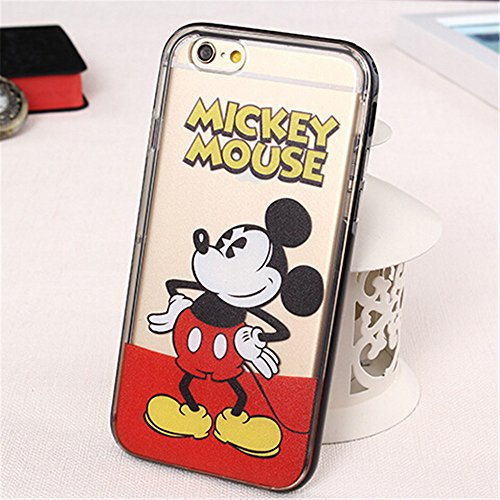 PC Frame and TPU Colored Printed Beautiful Cartoon Designed with Princess, Mickey, Donald Duck,mermaid ect. soft plastic case cover for iphone 6 plus (5.5 inch) (08)