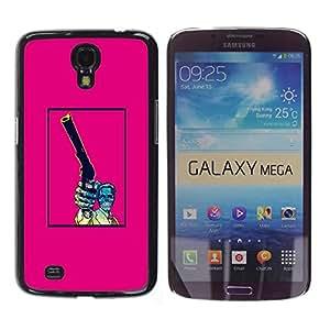 Shell-Star Arte & diseño plástico duro Fundas Cover Cubre Hard Case Cover para Samsung Galaxy Mega 6.3 / I9200 / SGH-i527 ( Pink Gun Pistol Poster Vintage Skull )