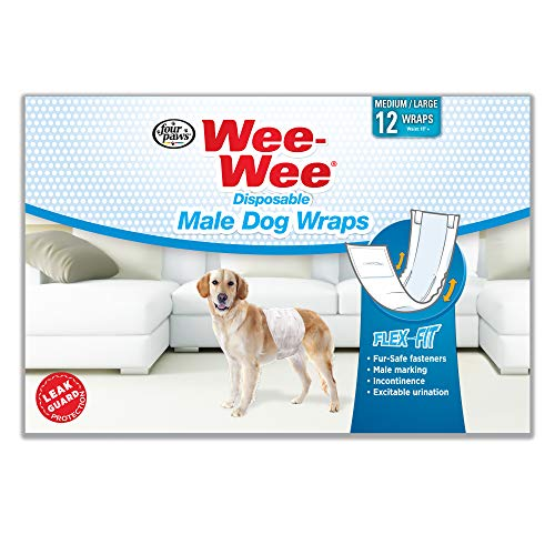 Wee-Wee Products Disposable Male Dog Wraps (12