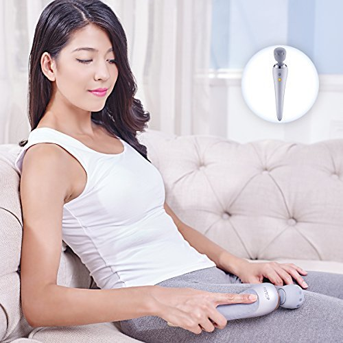 FITTOP Back Massager Waterproof Rechargeable Handheld Body Wand Massager Multi-Speed Cordless Vibrator Electric Massager for Neck, Back, Shoulder, Legs and Foot