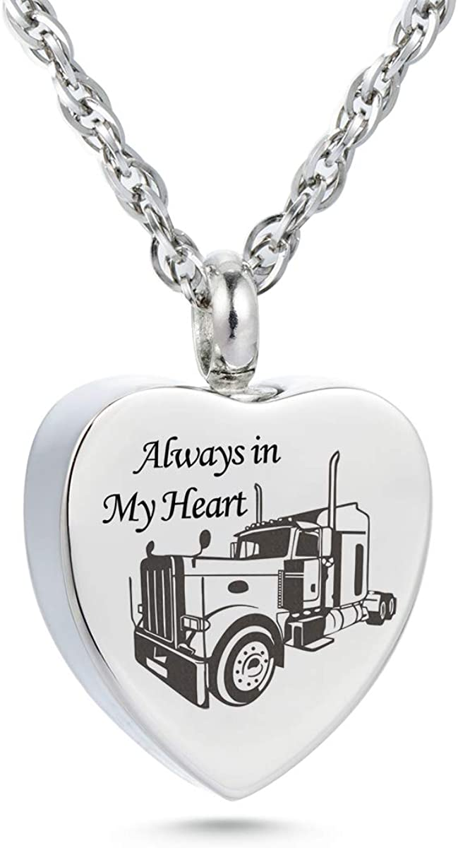 Always in my heart Urn Necklace for Ashes Trucker Memory Pendant Cremation Jewelry