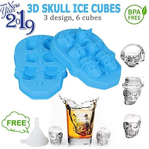 DELIFUR Skull Ice Cube Mold New Flexible 3D Slicone Ice Cube Trays Ice Pack Ice Maker Ice Cream Scoop 2