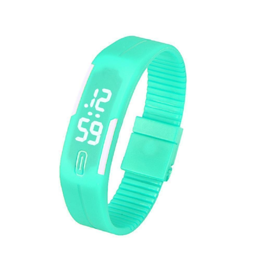 LEDスポーツ腕時計hosamtelユニセックスゴム日付デジタルブレスレット腕時計のジョギング 5x1.8cm ミントグリーン ミントグリーン ミントグリーン B0784HD12J