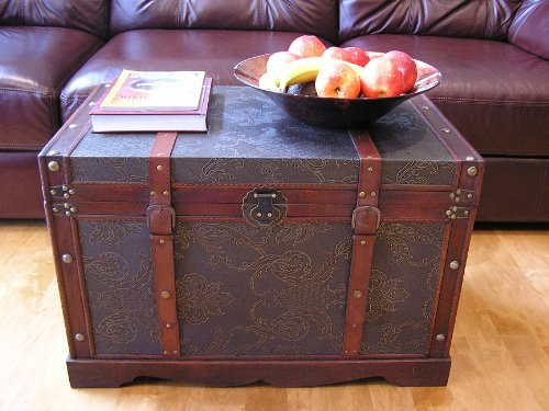 Styled Shopping Saratoga Faux Leather Chest Wooden Steamer Trunk - Large Trunk by Styled Shopping