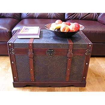 saratoga faux leather chest wooden steamer trunk large trunk
