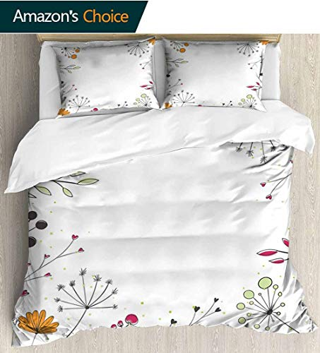 shirlyhome Modern Cotton Bedding Sets,Floral Branches with Geometric Flowers Nature Artwork Print Kids Bedding-Does Not Shrink or Wrinkle 79