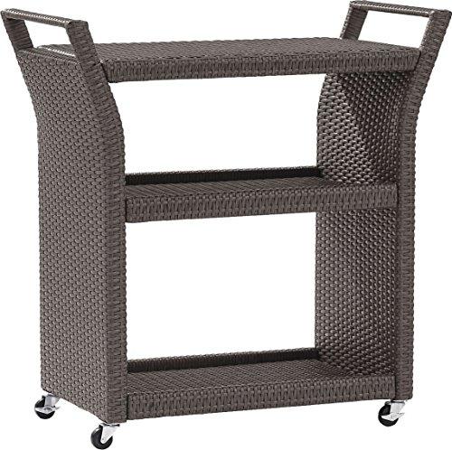 - Crosley Furniture Palm Harbor Outdoor Wicker Rolling Bar Cart - Grey