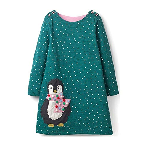 RoCoos Toddler Girls Dress Long Sleeve Cotton Applique Casual Dresses(Penguin,2T) ()