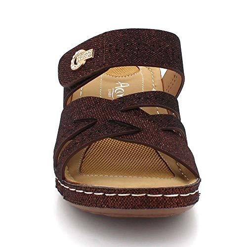Zapatos Abierta Sandalias Marrón Cada Punta Señoras Casual Tamaño Mujer Tacón Cuña Ligero Comodidad Día Verano De Ponerse 4ARSxw