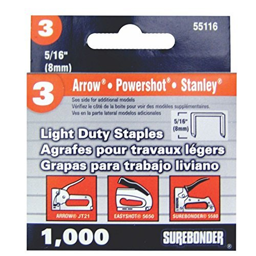 Surebonder 55116 Light Duty 5/16-Inch Leg Length, .441-Inch Crown Staples, Arrow JT21 Type, 1000 Count by Surebonder by Surebonder
