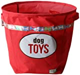 DEI Lucky Dog Collection Print and Embroidered Canvas Toy Basket, Red