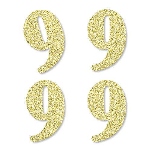Gold Glitter 9 - No-Mess Real Gold Glitter Cut-Out Numbers - 9th Birthday Party Confetti - Set of 24 by Big Dot of Happiness