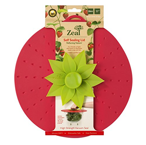 """Zeal Reflecting Nature Self-Sealing Lid with Vacuum Seal, Strawberry Design - 28cm/11"""""""