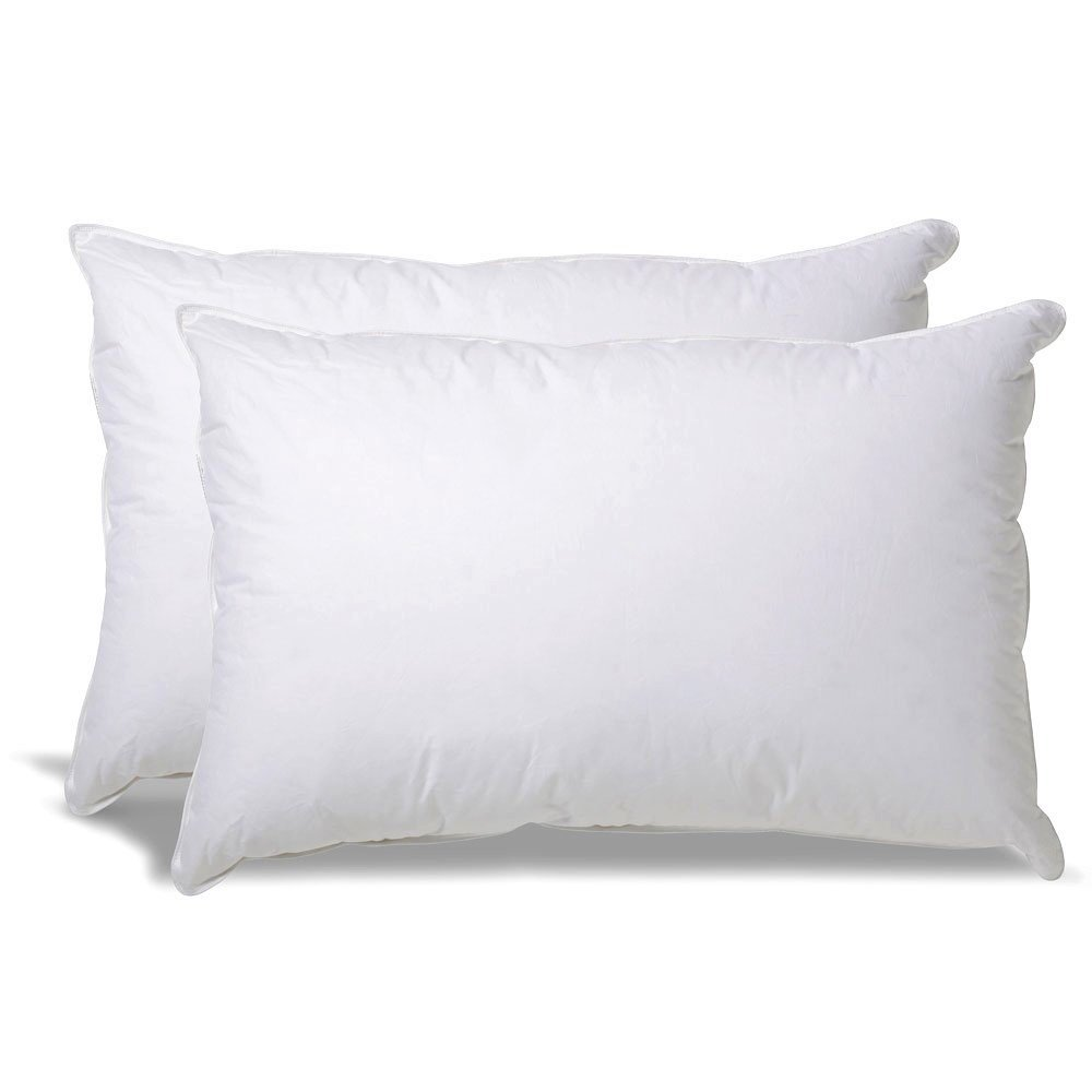 White Classic Down-Alternative Soft Bed Pillows for Sleeping - 100% Cotton Pillow Cover - Hypoallergenic Dust Mite Resistant - No Flattening - Queen Size - 2-Pack