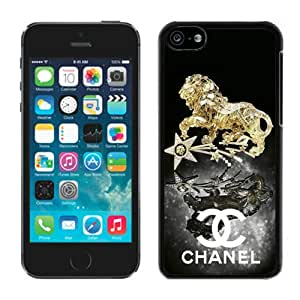Fashion And Beautiful Custom Designed With CHANEL Logo Cover Case For iPhone 5C Phone Case 39 Black