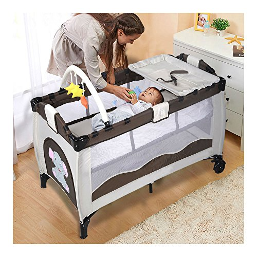 New Coffee Baby Crib Playpen Playard Pack Travel Infant Bassinet Bed Foldable from Unknown