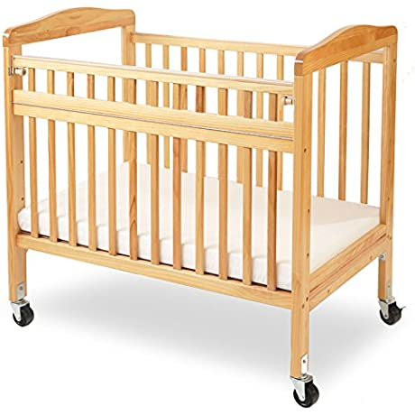 LA Baby Compact Non Folding Wooden Window Crib With Safety Gate Natural