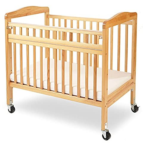 LA Baby Compact Non-folding Wooden Window Crib with Safety Gate, Natural - Crib Evacuation Frame
