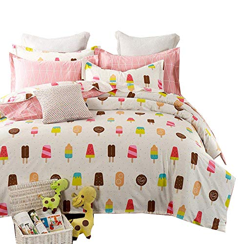 XUKEJU Cute 3PCS Cotton Kids Bedding Set ice-Cream Stick Printing ice Candy Duvet Cover Frozen Sucker Super Soft Comforter Cover Ice Lolly Queen Size