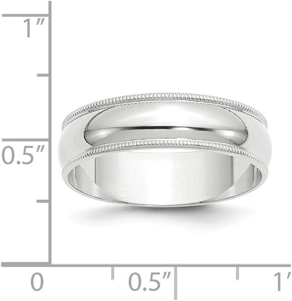 Jewel Tie 10k White Gold 6mm Milgrain Half Round Wedding Band