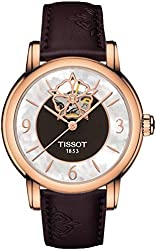 T050.207.37.117.04 Lady Heart Powermatic 80 Rose Gold Case Brown MOP Dial Watch with Brown Leather Strap