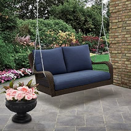 Colebrook Outdoor Porch SwingBrown With Blue Cushions