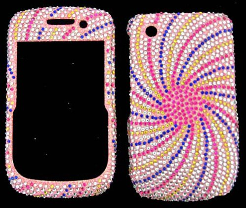 Blackberry Curve 8520/8530/9300 Swirl Design Pink/Blue/Silver - Full Rhinestones/Diamond/Bling - Hard Case/Cover/Faceplate/Snap On/Housing/Protector