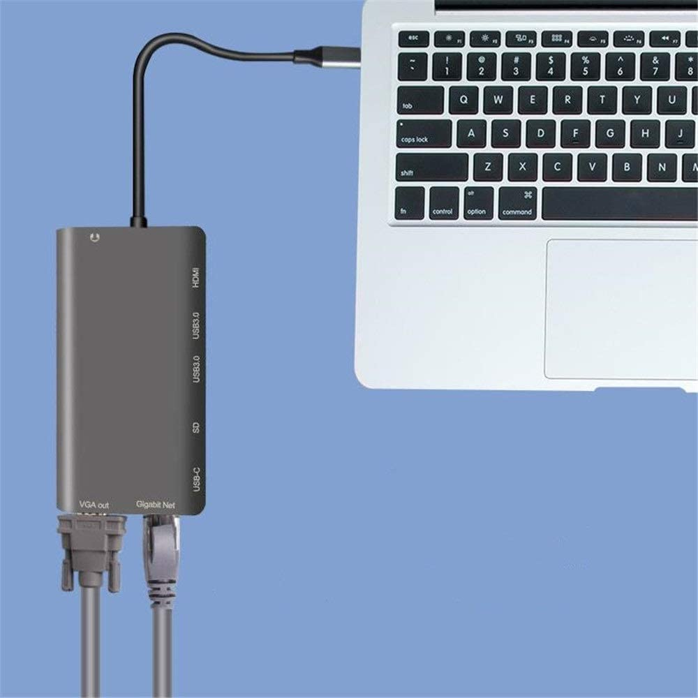 USB Hub 8 In 1 USB C Hub Multiport Adapter With Ethernet Port 4K HDMI 2 USB 3.0 Ports 1080P VGA PD Charging 3.5mm Audio Support SD Card Reader Compatible For Flash Drive Laptops And More Ultra Slim Da