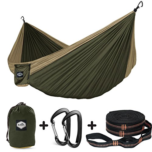 Nordmiex Double Camping Hammock With Tree Straps - Portable Parachute Hammock for Two Persons,Include 9' Heavy Duty Hammock Tree Straps and Premium Aluminum Carabiners,118