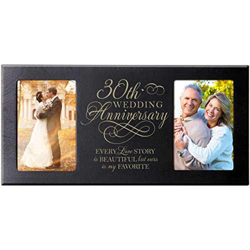 LifeSong Milestones Every Love Story is Beautiful but Ours is My Favorite Anniversary Picture Frame Gift for Couple,30th for Her,30th Wedding for Him Frame Holds 2-4x6 Photos ()