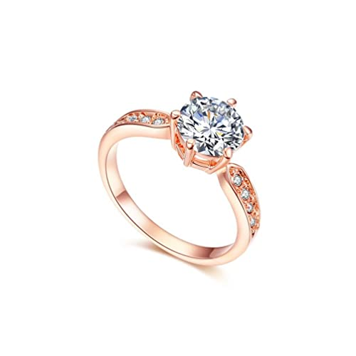 RedFly 18ct Rose Gold Plated 9pcs Round CZ Crystal Paved Forever Women Wedding Rings, Engagement Ring, Gift Ring Size H / K / M / N / O / Q / S