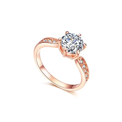 RedFly 18ct Rose Gold Plated 9pcs Round CZ Crystal Paved Forever