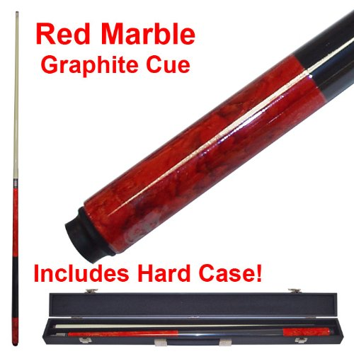 2 Piece Deluxe Red Marble Graphite Pool Stick Cue - With Carrying Case! by TMG