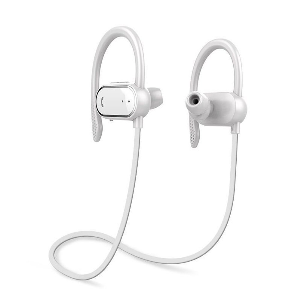 FEYAS S9 Intelligent Pedometer Bluetooth Headphones,Wireless Sports Earphones/Mic IPX7 Waterproof HD Stereo Sweatproof Earbuds for Gym Running Workout 8 Hour Battery Noise Cancelling Headsets (White) by FEYAS