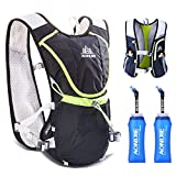 TRIWONDER Hydration Pack Backpack Professional 8L Outdoors Mochilas Trail Marathoner Running Race Cycling Hydration Vest (Black – with 2 Soft Water Bottles (350ml))