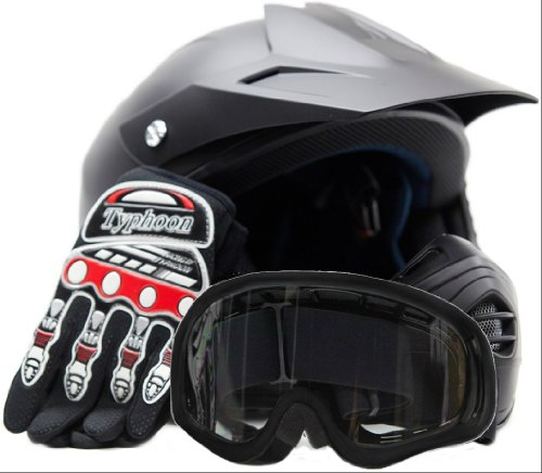 Youth Offroad Helmet Gloves Goggles GEAR COMBO Motocross ATV Dirt Bike Motorcycle Red Matte Black XL