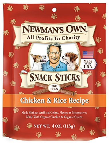 Newman's Own Snack Sticks for Dogs, Chicken & Rice, 4-Ounce Bag (Pack of 6) (Dog Recipes Snacks)