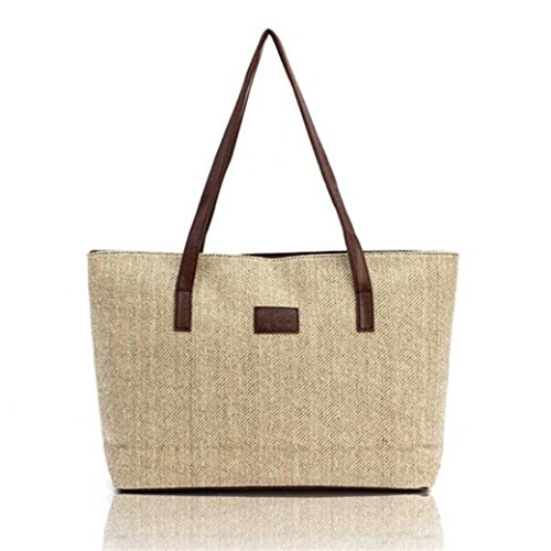 Women Beige Fashion Tote Large HN Handbag Canvas Shoulder Bags ORw6tHxt