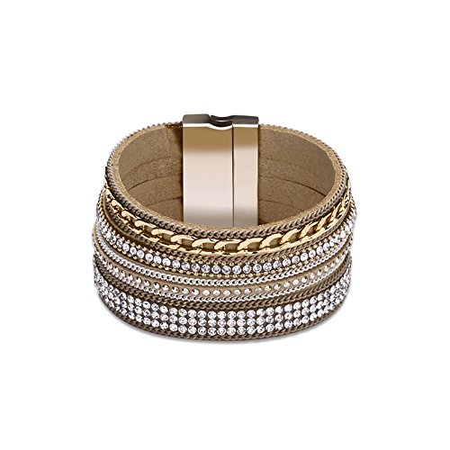 MoAndy Jewelry Leather Bracelet For Women Multilayer Chain And Crystal Overlay Gray Chain