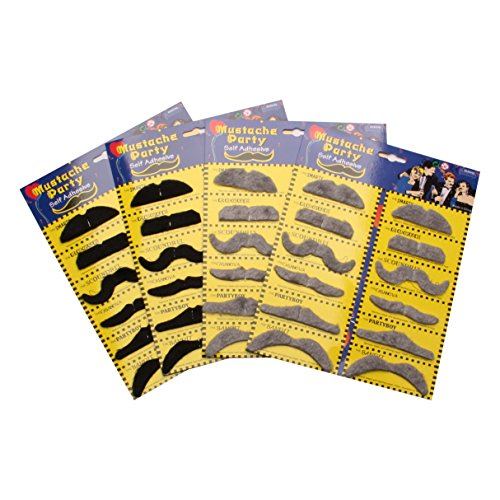 HoDrme 48 Pieces Fake Mustache, Self Adhesive Novelty Mustache for Halloween Christmas Costume Party Cosplay