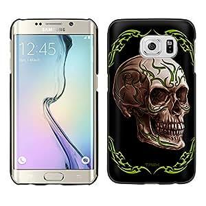 Samsung Galaxy S6 Edge Plus Case, Snap On Cover by Trek Green Tattoo Skull on Black Case