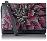 Anuschka Hand Painted Organizer Wallet with Smart Phone Case Dreamy Dahlias Pink, Drd-P-Dreamy Dahlias Pink, One Size