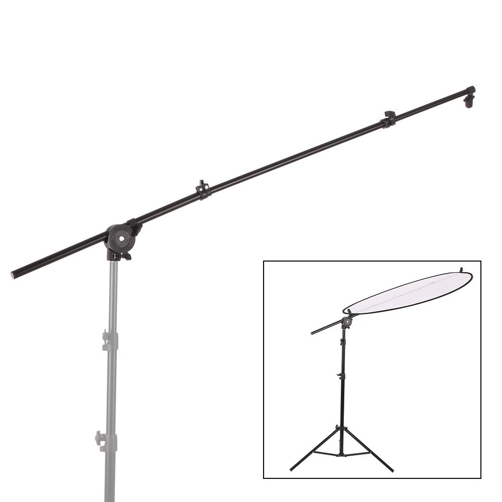 Andoer Extendable Reflector Diffuser Holder Stand Boom Arm Support Photo Studio Photography with Clip Flexible Swivel Grip Head Clamp